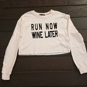 Sweaters - womens cut off sweater Run now Wine later